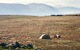 Two tents pitched near the summit of Thornthwaite in the Lake District UK.