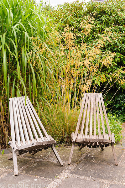 Pair of wooden seats on paving backed by Stipa gigantea and tall miscanthus.