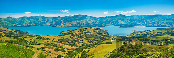 Fjord landscape Akaroa Harbour - Oceania, New Zealand, South Island, Canterbury, Christchurch, Banks Peninsula, Akaroa, Summi...