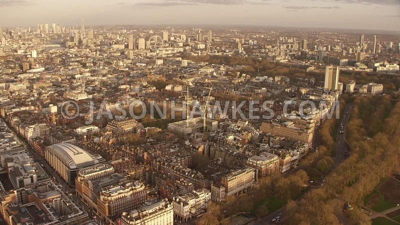 Aerial footage over Park Lane, Mayfair, Grosvenor Square,  London.
