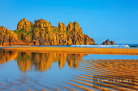 Coast landscape at Pednvounder Beach - Europe, United Kingdom, England, Cornwall, Porthcurno, Pednvounder Beach (Treen Cliffs...