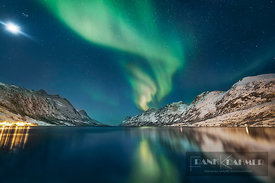 Polar light (Aurora Borealis) over Ersfjordbotn - Europe, Norway, Troms, Kvaloya, Ersfjordbotn (Lapland) - digital