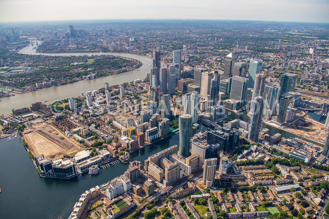 Aerial view of Canary Wharf, isle of Dogs, London