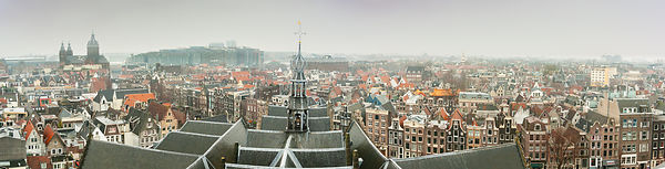 Aerial view over Amsterdam - panorama