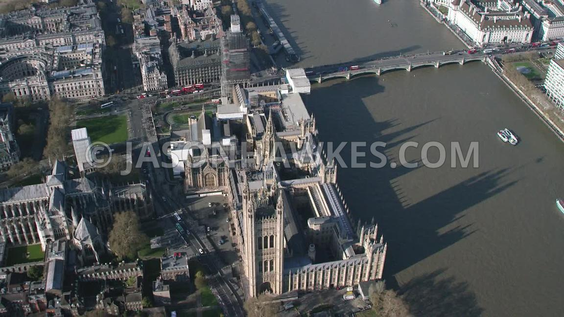 Palace of Westminster, aerial footage.