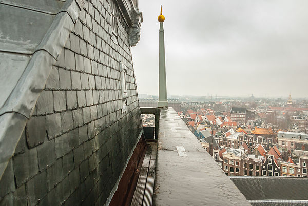 Golden lightning rod on the tower of the Old Church, Amsterdam