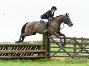 Hermione Brooksbank jumping a fence at Stone Lodge. The Cottesmore Hunt at Vickers Farm 12/3