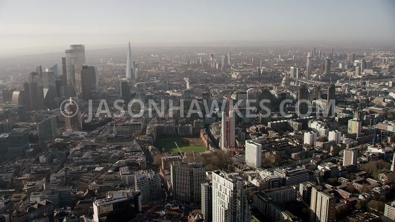 Aerial footage of the City of London, Old St, Artillery ground, Finsbury Square, Shoreditch, London.