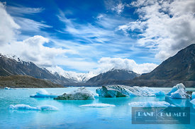 Glacier lagoon Tasman Lake with ice - Oceania, New Zealand, South Island, Canterbury, Mackenzie, Aoraki Mount Cook National P...