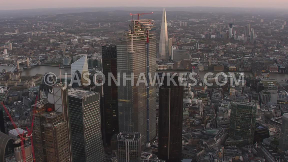 Aerial footage of the Square Mile, City of London, London