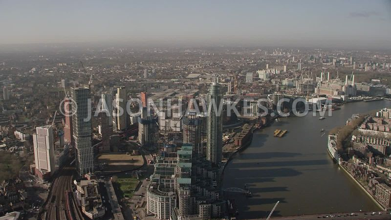 Aerial footage of Vauxhall, Nine Elms and Battersea, London.
