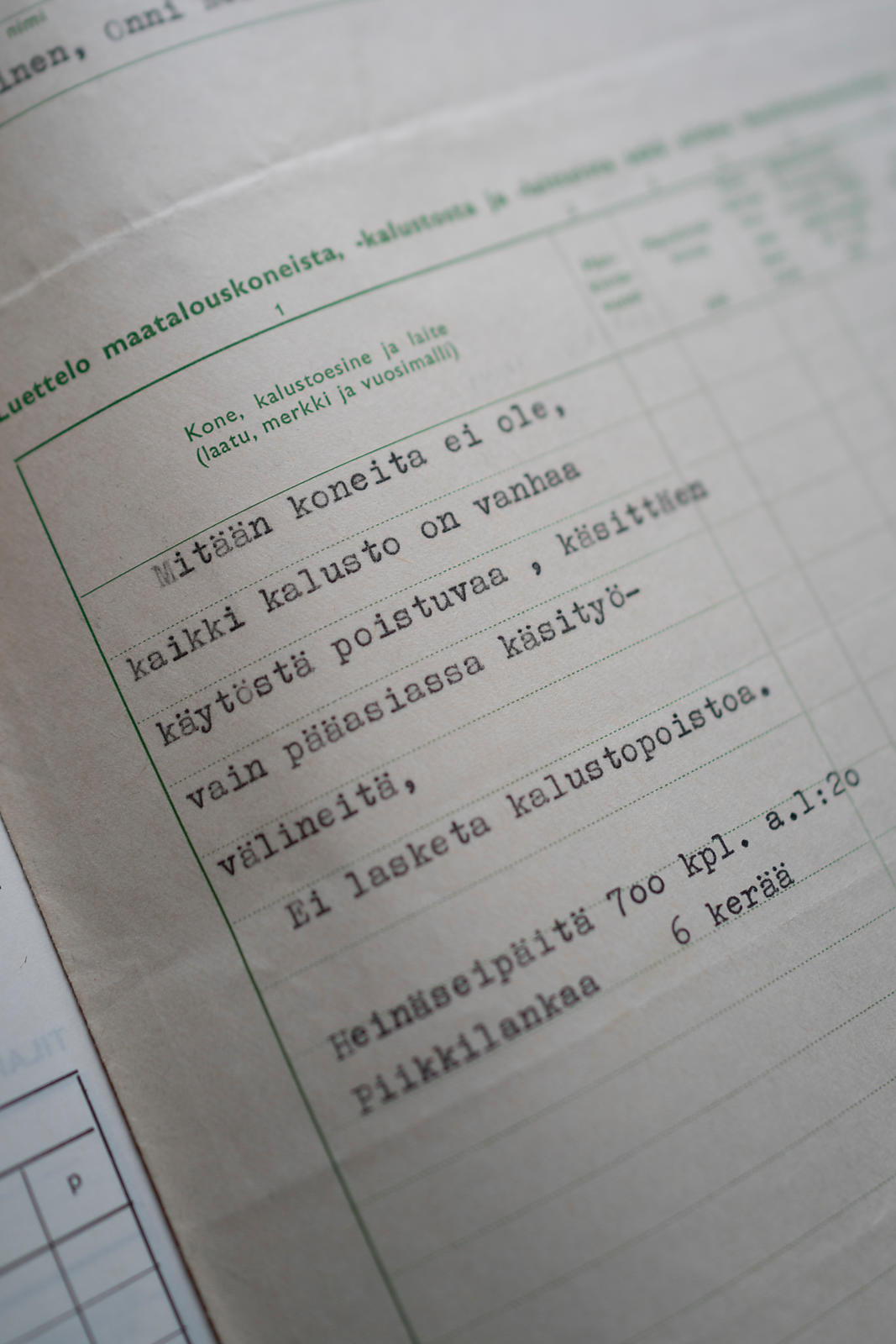 """Tax information, 1968, list of farm equipment and machinery: There are no machines, all equipment is old, mainly for hand wo..."