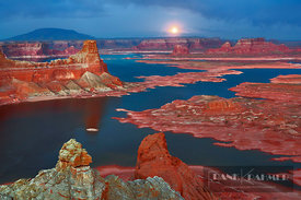 Sandstone erosion landscape and moon at Alstrom Point at Lake Powell - North America, USA, Utah, Kane, Lake Powell, Alstrom P...
