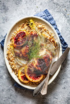 Roasted Chicken with Fennel and Oranges