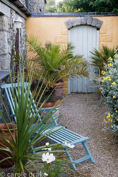 Secluded courtyard with seating and potted date palms. Ednovean Farm, Marazion, Cornwall, UK