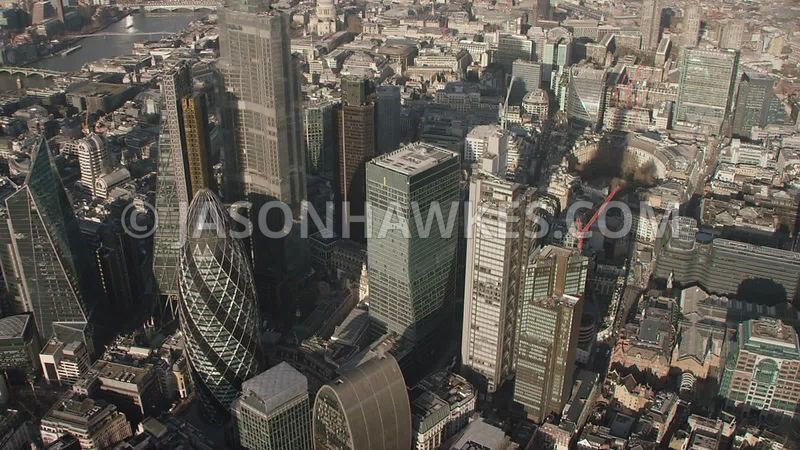 Aerial footage of the Square Mile, City of London, London.