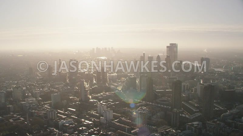 Aerial footage of the Barbican and City of London. Shot in 5K from a helicopter.