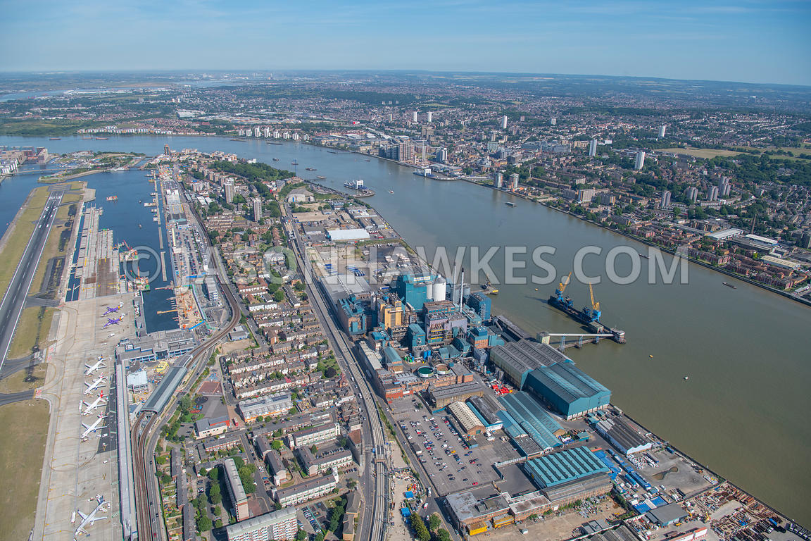 Aerial view over london, London City Airport, North Woolwich, Royal Docks, Royal Victoria Gardens, Silvertown, Tate & Lyle Su...