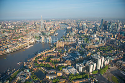 St Katharine Docks Marina, Tower Bridge, River Thames,  Tower of London,  Wapping, London. Aerial view
