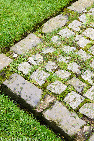 Squares of granite setts and grass in the Upper Courtyard of Broadwoodside, Gifford, East Lothian in September