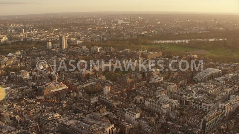 Aerial footage of West End, Grosvenor Square, Park Lane, Oxford Street, Mayfair, London.