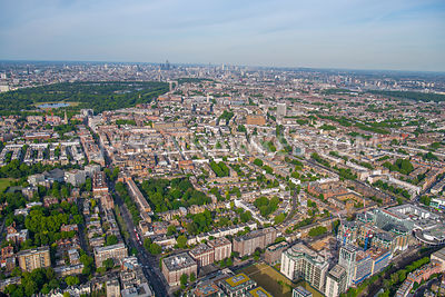 Aerial view of Kensington High St, Cromwell Rd, Kensington, Edwardes Square, London.