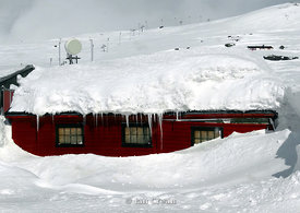 Norwegian house in deep snow