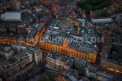 Aerial view of London, Knightsbridge with Harrods.