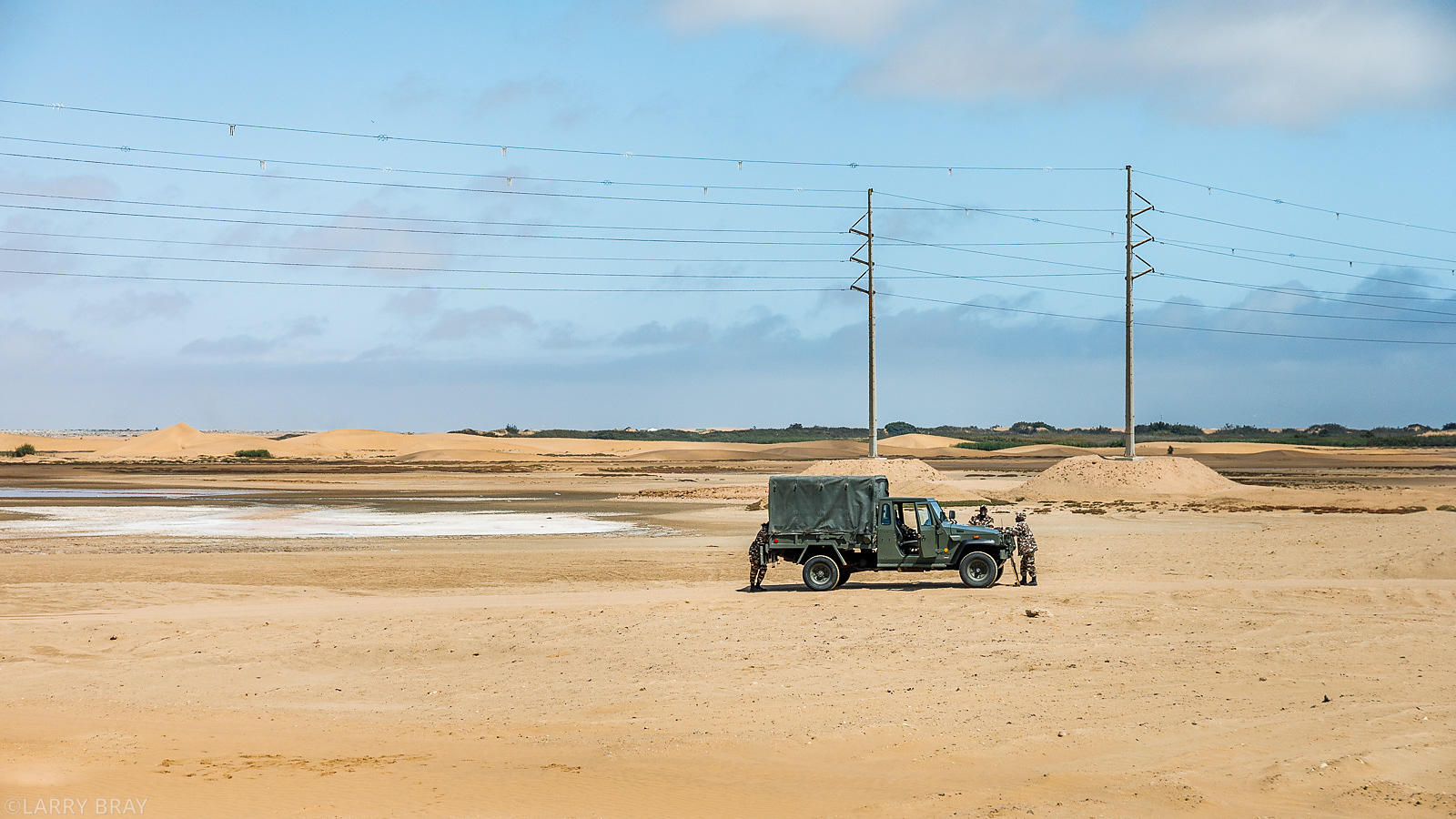Military vehicle in desert near Swakopmund, Namibia, South Africa