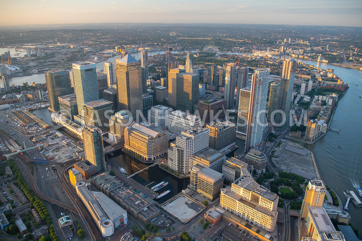 Aerial view of 12 Cabot Square, Canada Place, canary wharf, Cineworld West India Quay, Columbus Courtyard, Crossrail Station ...