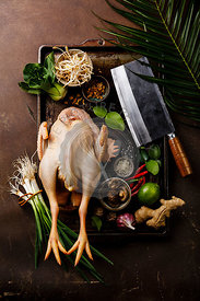 Fresh bird cock chicken meat and Asian spices for cooking Chinese foods on dark background