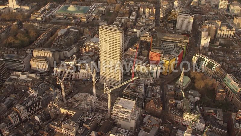 Aerial footage of Centre Point, London.