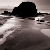 Dark rocks and frozen beach | Uttakleiv Lofoten Islands Norway | 2014