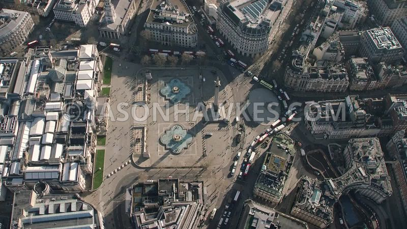 Aerial footage of Trafalgar Square, London.