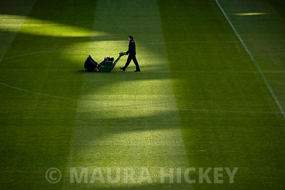 """Pitch Perfect"". Cutting grass at Croke park ahead of the Ladies Gaelic football league clash between Cork and Dublin."