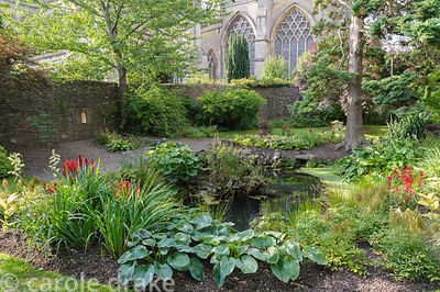 St Andrew's Well surrounded by moisture loving plants including ferns, astilbes, hostas and lobelias in the Wells Gardens at ...