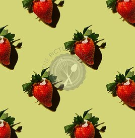 Ripe Strawberry on green background Pattern