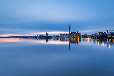 Stockholm skyline at sunset
