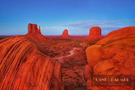 Erosion landscape at the Mittens in Monument Valley - North America, USA, Arizona, Coconino, Monument Valley (Colorado Platea...