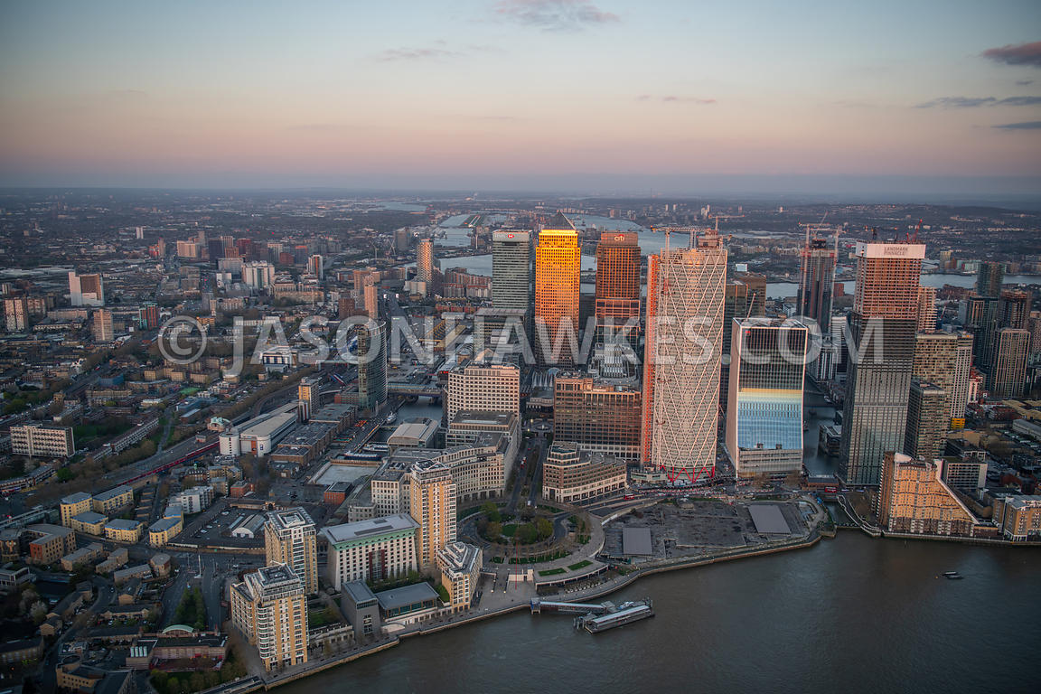 Aerial view of Canary Wharf, London. Bank Street, Bellamy Close, Canary Riverside, Canary Riverside Plaza Hotel, Canary Wharf...