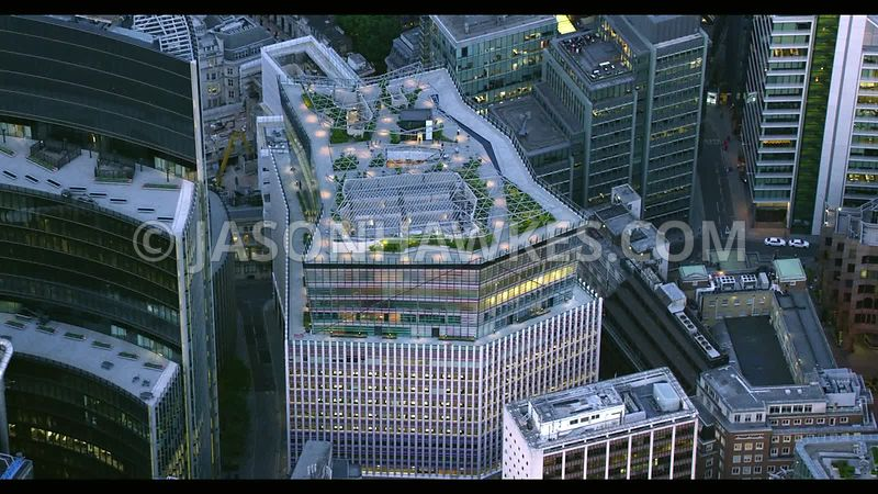 Aerial footage of Fen Court at dusk, City of London , London.