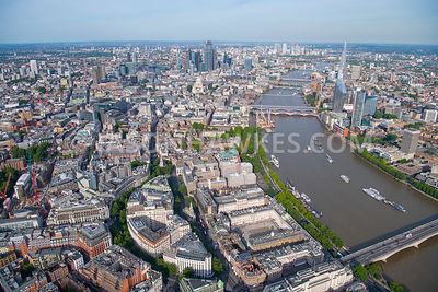 Aerial view of the Strand and Aldwych, Royal Courts of Justice, Somerset House, Middle Temple Gardens, London