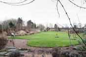 Curvaceous lawn framed with borders planted with grasses and evergreens including conifers and euphorbias at Ellicar Gardens,...