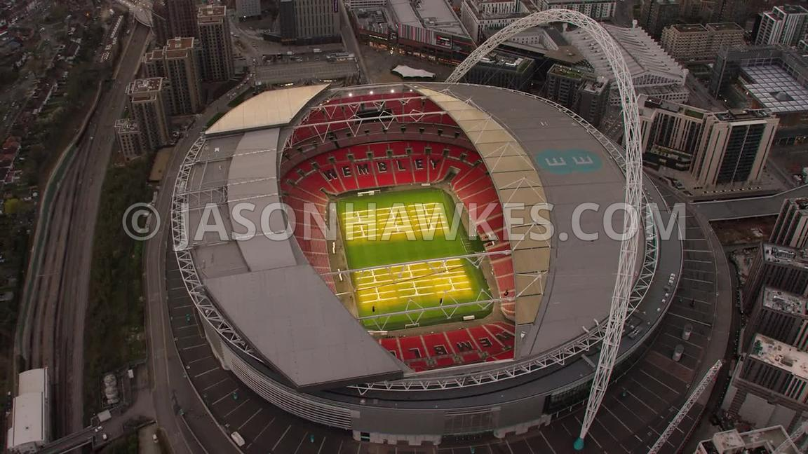 Aerial footage of Wembley Stadium, Wembley, London.