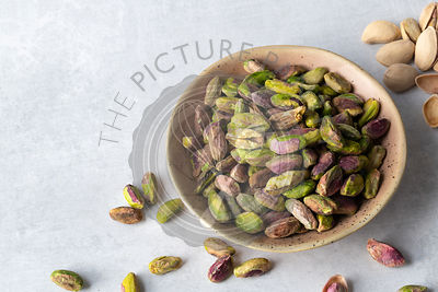 Roasted and salted pistachio nut kernals.