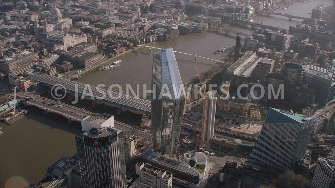 Aerial footage of Blackfriars, London.