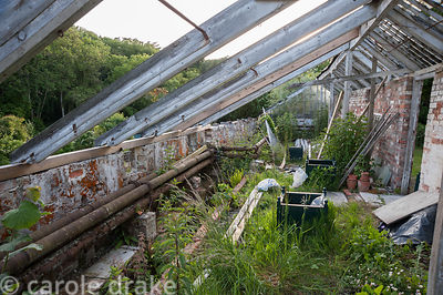Interior of derelict Victorian glasshouse undergoing restoration. Littlebredy Walled Gardens, Littlebredy, Dorset