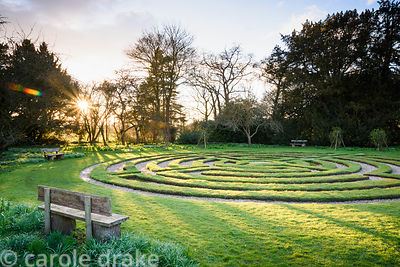 Turf maze created in the 1980s at Doddington Hall, Lincolnshire on a March evening