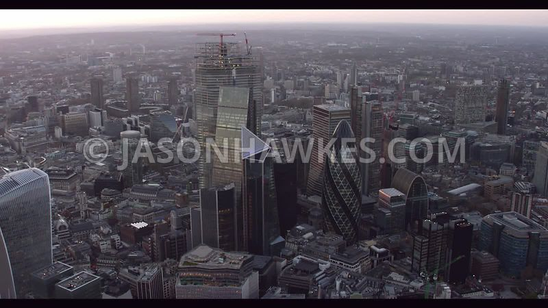 Aerial footage of the City of London, London.