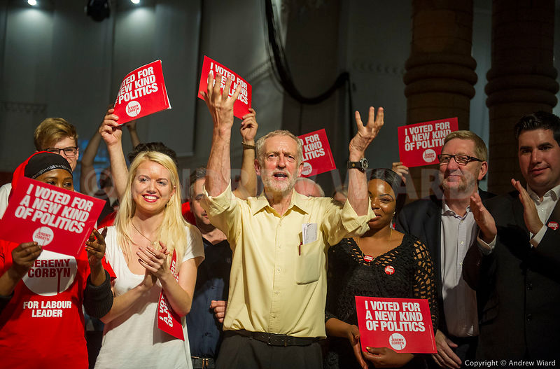 England, UK . 10.9.2015. London. Jeremy Corbyn at final campaign rally on the eve of his election as Leader of the Labour Party.